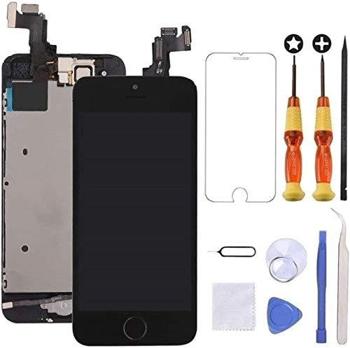 """Brinonac Pantalla para iPhone 5s/se, 4.0"""" Pantalla Táctil LCD con botón de Inicio,Cámara Frontal, Sensor de proximidad, Altavoz, ensamblaje de Marco digitalizador y Kit de reparación (Negro)"""
