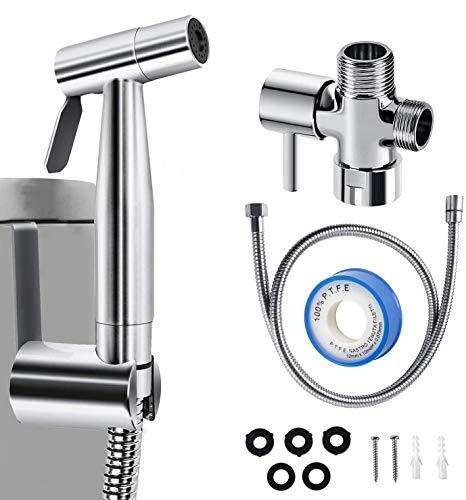 Handheld Bidet Sprayer for Toilet, Cloth Diaper Sprayer, Bathroom Sprayer Kit Spray Attachment with Hose, Stainless Steel Easy Install, Cleaner and Shower Sprayer for Bathing Pets, Feminine Hygiene