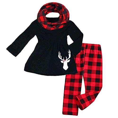 3Pcs Toddler Baby Girl Long Sleeve Reindeer T-Shirt Dress Top+Plaid Pant with Scarf Christmas Outfit Set,Red, 7-8T (130)