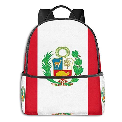 AOOEDM School Backpack for Boys Girls, Kids Elementary School Teenage Junior Middle School Bookbag Student Stylish Peru Flag Travel Laptop Book Bag