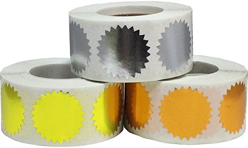 Metallic Seals Serrated Edge Color Coding Labels Bulk Pack 1 Inch Round 1,500 Total Adhesive Stickers