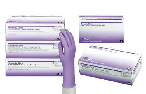 Haylard Health 55080 Model KC500 Nitrile Powder Free Exam Gloves, Disposable, Extra Small, Purple (Pack of 100)