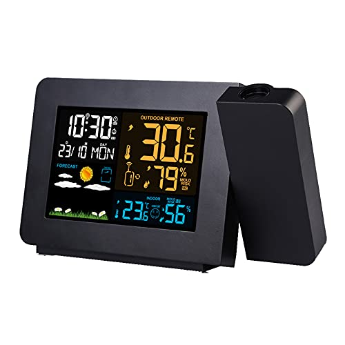 wzroy Reloj Despertador De ProyeccióN Multifuncional Reloj MeteorolóGico Led, Reloj ElectróNico De ProyeccióN De PronóStico del Tiempo, con Reloj De Temperatura Y Humedad