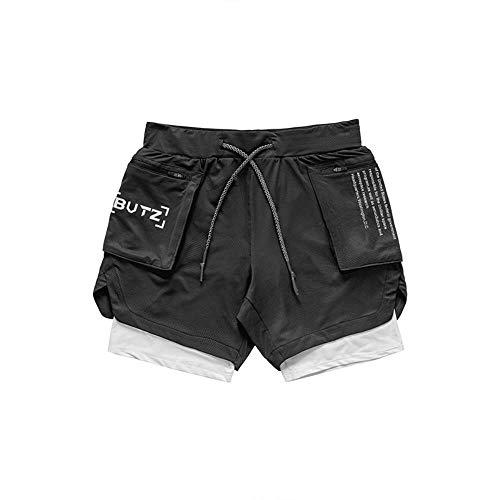 Miwaimao Schnell trocknende Mesh Sommer Training Männer und fünf Hosen Shorts Herren Sport und Freizeit Fitness Übung Joggen Hosen Doppel Gr. 34-37, Schwarzes, weißes Etikett
