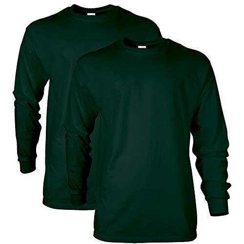 Gildan Men's Ultra Cotton T-Shirt, Style G2400, Forest Green (2-Pack), Large