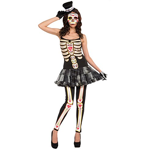 Disfraz de corazn de huesos, talla 32 - 40, esqueleto La Catrina Gerippe bailarina Halloween 34