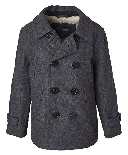 Sportoli Boy Classic Wool Blend Sherpa Winter Dress Pea Coat Peacoat Jacket - Charcoal (Size 8)