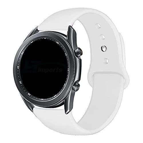 Pulseira Sport Lisa 22mm compatível com Samsung Galaxy Watch 3 45mm - Galaxy Watch 46mm - Gear S3 Frontier - Amazfit GTR 47mm - Marca LTIMPORTS (Branco)