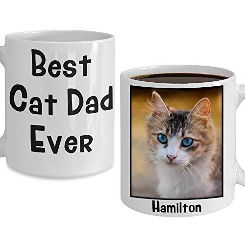 Irma00Eve beste kat vader ooit mok gepersonaliseerd huisdier foto naam mok vaders dag cadeau voor kat vader verjaardag opslag aangepaste kat foto kopje koffie kat geschenken