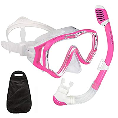 WACOOL Snorkeling Snorkel Package Set for Kids Youth Junior, Anti-Fog Coated Glass Diving Mask, Snorkel with Silicon Mouth Piece,Purge Valve and Anti-Splash Guard. (Pink)