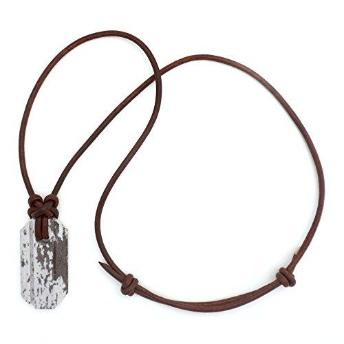 Wazoo Wikinger Wetzstein-Anhänger / Messerschärfer-Halskette / Arkansas Novaculite auf Lederband / Knotenmuster im Norden