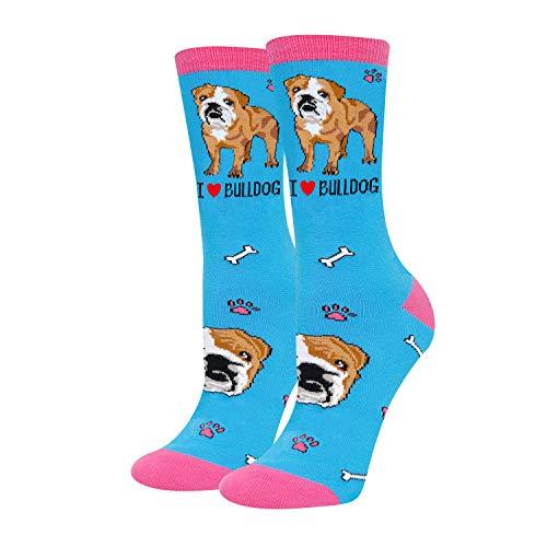 HAPPYPOP Bulldog Socks for Women English Bulldog Gifts, I Love Bulldog