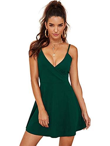 SheIn Women's V Neck Adjustable Spaghetti Straps Sleeveless Sexy Backless Dress Large Green