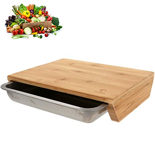 SCHOBERG XXL Bambus Schneidbrett mit Auffangschale 47 x 32,5 x 7cm Schneidunterlage für Fleisch, Gemüse und Käse