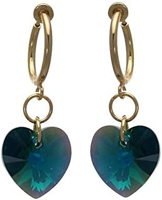 Cerceau Valentine Gold plated bright green Heart Clip On Earrings