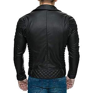 Reichstadt - Chaqueta de estilo motorista para hombre con cinturón extraíble, piel auténtica o sintética Negro – Rs001 Pu – Cremallera plateada. XL