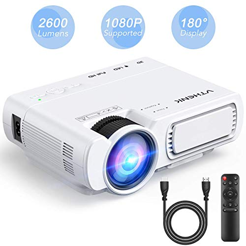 Home Cinema Led Projector - VTHENK Mini Video Projector 2600 Lux 1080P Full HD with 180' Display, Compatible with HDMI, VGA, TV, PS4, AV, USB, Mobile Phone and Laptop