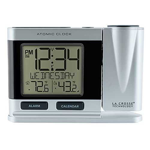 La Crosse Technology 616-12667-INT Silver Atomic Projection Alarm Clock with Temperature