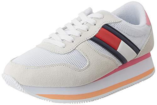 Tommy Hilfiger Flatform Runner Colour Sneaker, Zapatillas para Mujer, Blanco (White Ybs), 39 EU