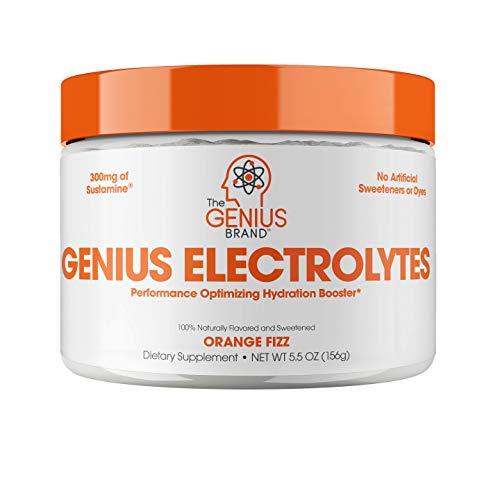 Genius Electrolyte Powder – Natural Hydration Booster | Endurance Supplement with Electrolytes (Potassium, Magnesium, Zinc) - Sugar Free, Vegan, Keto Friendly Energy - Orange Fizz (Drink Mix), 30 Sv