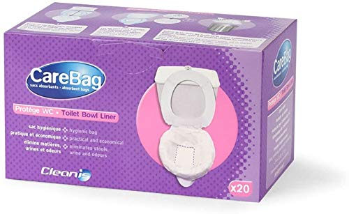 Carebag Toilet Bowl Liners with Absorbent Pad 20 Count– Leak Resistant – Universal Size Fits Any Size Indoor or Outdoor Toilet – Eliminates Odors – Convert Regular Toilet to Dry Toilet - by Cleanis