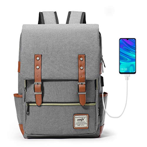HapiLeap Laptop Vintage Backpack Water Resistant Business Travel School Rucksack Messenger Bag Fits 15.6 Inch Notebook for Men & Women (Grey)