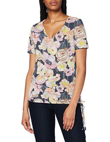 Gerry Weber Casual Damen 270096-44035 T-Shirt, Mehrfarbig (Blau/Gelb Druck 8048), (Herstellergröße: 34)