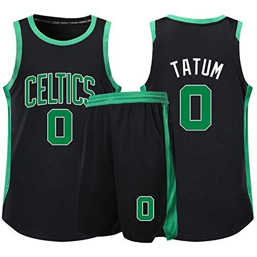QAZWSX Kelten # 0 Basketballuniform, Jayson Tatum Sommersporttrikot, Basketballuniformen für Erwachsene und Kinder, Basketballtrikotoberteil (einschließlich Shorts)-Black-S