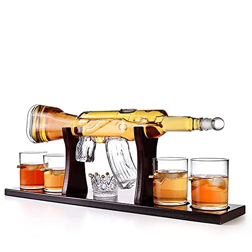 LIHENG Juego de decantador de botella grande de 800 ml, con 4 copas de whisky de bala, elegante juego de vasos de whisky de rifle con base de pino