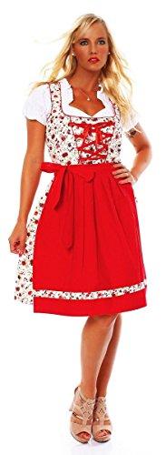 Fashion4Young 10589 Damen Dirndl 3 TLG.Trachtenkleid Kleid Mini Bluse Schürze Trachten Oktoberfest (40, Weiß Rot)