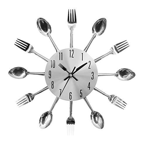 Rehomy 12 Zoll Edelstahl Wanduhr, Küchengabel Löffel Wanduhr Besteck Uhr Home Esszimmer Dekor