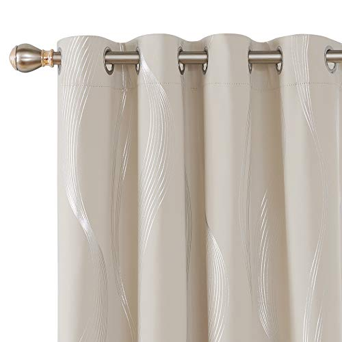 Deconovo Thermal Insulated Room Darkening Light Beige Blackout Curtains with Silver Stripe Printed Curtains for Living Room 2 Panels 52 x 108 Inch