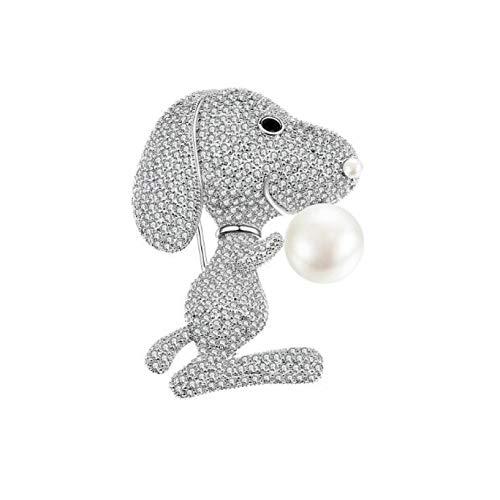 QPODGQ Broche Zirconia Dibujos Animados Lindo Perro Accesorio Dise?o Encantador Cristal Brillante Color Plata Animal Broches Pin De Solapa