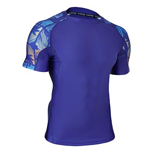 HUGE SPORTS Rash Guard da Uomo Magliette da Bagno a Maniche Corte Compressione Rashguard Protezione Solare UV (UPF) 50+ (Blu+A, 3XL)