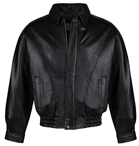 Victory Outfitters Men's Genuine Leather Bomber Jacket - Black - XXL
