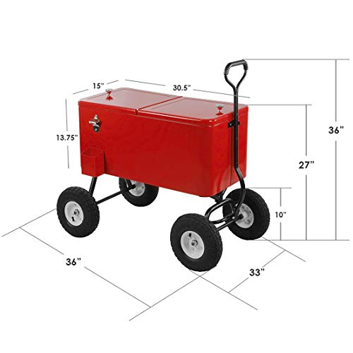 Clevr 80 Quart Wagon Cooler Rolling Party Ice Chest, Red, w/Long Handle and 10' Large All Terrain Wheels, 80 Qt Beach Patio Pool Party Bar Cold Drink Beverage Chest, Outdoor Park Cart on Wheels
