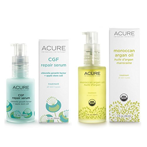 Acure Organics CGF Repair Serum and Acure Organics Moroccan Argan Oil With Chlorella and Apple Stem Cells, 1 fl oz (30 ml) and 2 fl oz (59 ml) by Acure Organics