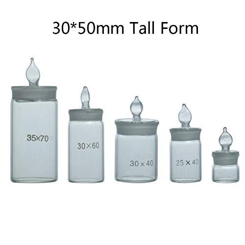 DADAKEWIN Lab Pesafiltro 30 * 50mm, Forma Alta, Borosilicato 3.3 di Vetro, Terra Bocca di Vetro Sigillato Display del Campione Vetro Spesso Lab Bottiglie- Confezione da 3 (Size : Tall Form 30 * 50mm)