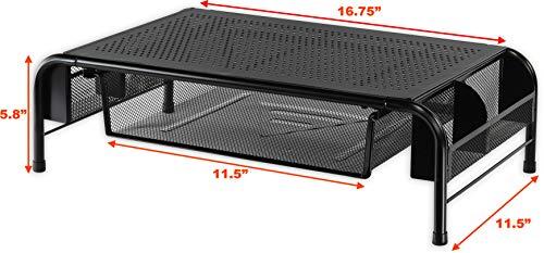 SimpleHouseware Metal Desk Monitor Stand Riser with Organizer Drawer Photo #3
