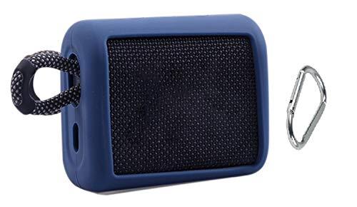 Funda de Silicona para JBL Go 3 Go3 con Mosquetón,Gel de Viaje, Piel Suave, Impermeable, Bolsa de Transporte de Goma para Altavoz Bluetooth portátil JBL Go 3 Go3 (Azul Marino)