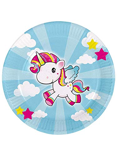 Find Bargain Folat 65040 Unicorn Disposable Plates 23 cm – 8 pieces, Multi Colours