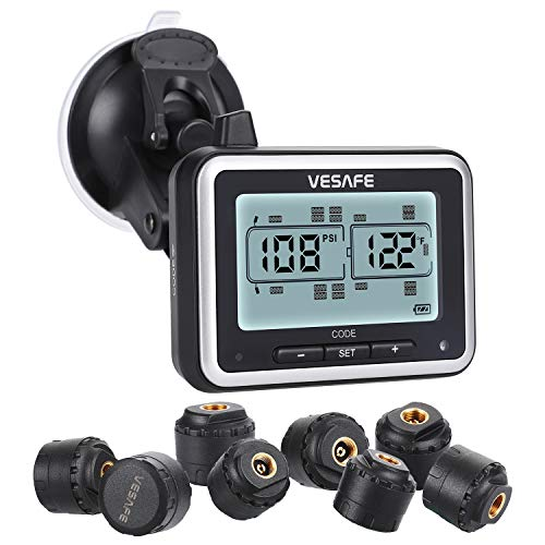 Vesafe TPMS, Wireless Tire Pressure Monitoring System for RV, Trailer, Coach, Motor Home, Fifth Wheel, with 8 Anti-Theft sensors