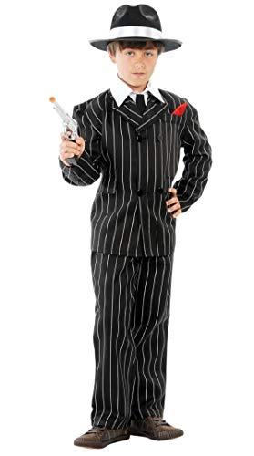 Jungen Schwarz Weiß 1920s Jahre Nadelstreifen Bugsy Malone Gangster Halloween Kostüm Kleid Outfit - Schwarz/weiß, 7-9 Years, Schwarz/weiß