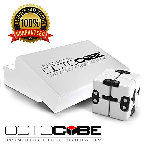 OCTOCUBE Infinity Cube Fidget Toy w/Gift Box - Luxury Infinite Cool Gadget for Kids, Adults - Prime Sensory Stress Relief, Pressure Reduction Unique Distraction - White Glossy Ldt.