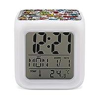 Keith Haring カラフルな色が変わる警報時計すべての側面印刷目覚まし時計