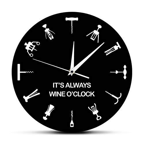 yage Siempre es Vino en Punto Reloj de Pared Diferentes abridores de cócteles como números Inicio Bar Decoración de Pared Abridor de Botellas Arte Regalo de Amante del Vino