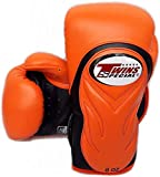 TWINS Boxing Gloves BGVL-6 Orange Black Sparring Training Gloves Muaythai Kickboxing MMA K1 (12 oz)