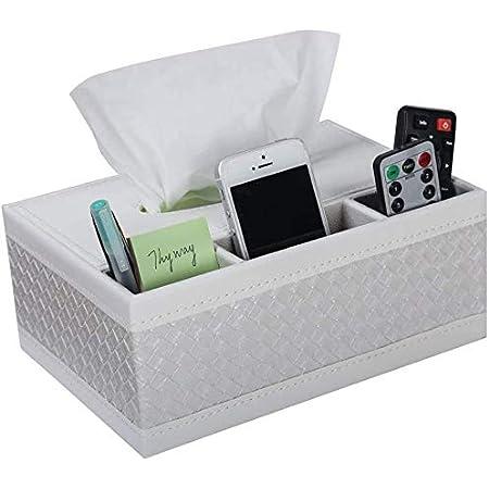 Range Telecommande,Niceen boîte à mouchoirs,Boîte de rangement multifonction en cuir synthétique pour stylos, crayons, télécommande, mouchoirs
