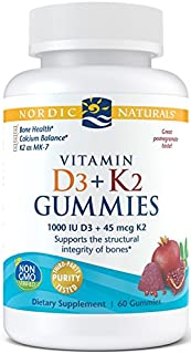 Nordic Naturals Vitamin D3 + K2 Gummies, Pomegranate - 1000 IU Vitamin D3 + 45 mcg Vitamin K2 - 60 Gummies - Great Taste -...