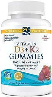 Nordic Naturals Vitamin D3 + K2 Gummies, Pomegranate - 1000 IU Vitamin D3 + 45 mcg Vitamin K2 - 60 Gummies - Great Taste -...